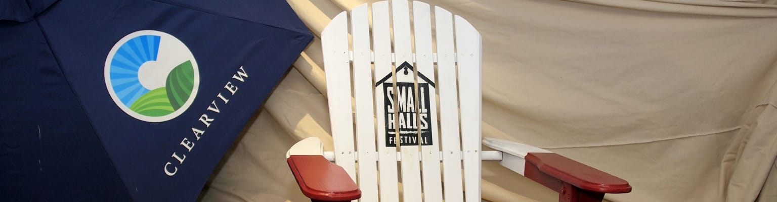 Small Halls Festival banners on a stage