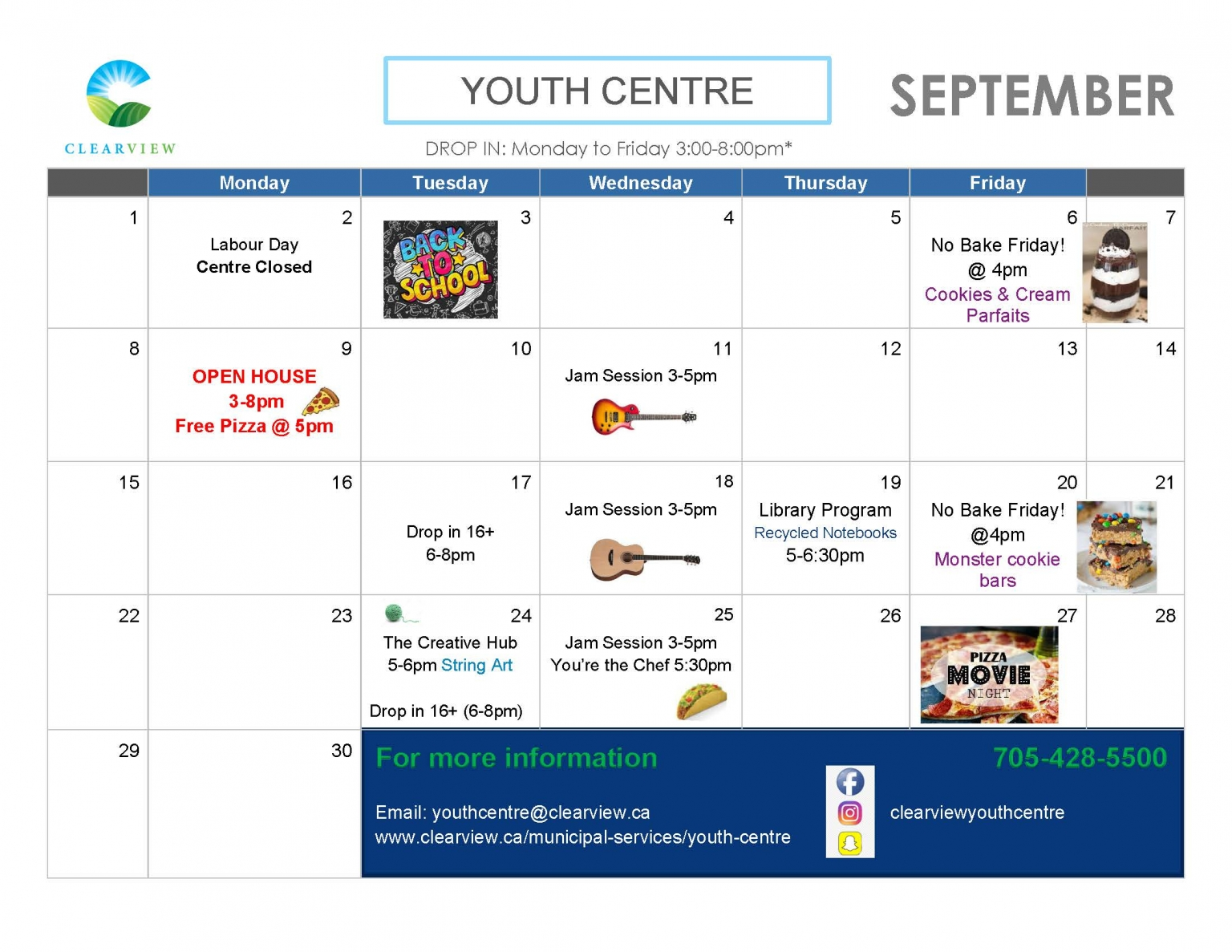 Clearview Youth Centre - June 2019 Events Calendar